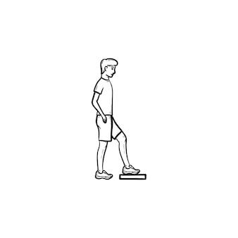 단계 에어로빅을 하는 남자 손으로 그린 개요 낙서 아이콘. 활동, 피트니스 유산소 운동, 체육관 운동 개념. 인쇄, 웹, 모바일 및 흰색 배경에 인포 그래픽에 대한 벡터 스케치 그림.