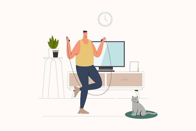 Человек делает тренировку дома плоские векторные иллюстрации