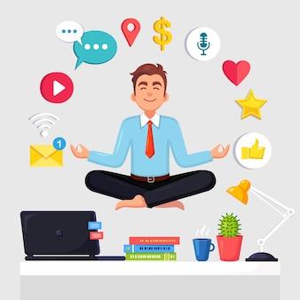 ソーシャルネットワーク、メディアアイコンとオフィスで職場でヨガをしている男。