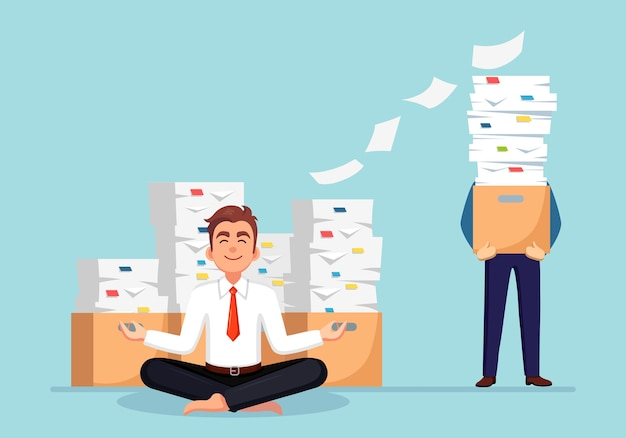 Man doing yoga. pile of paper, busy businessman with stack of documents in carton, cardboard box.