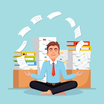 Man doing yoga. pile of paper, busy businessman with stack of documents. worker meditating, relaxing