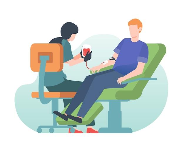 病院で彼の血を寄付する男
