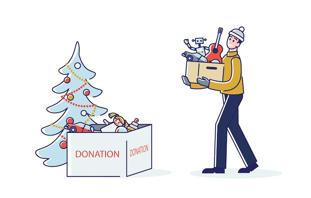 クリスマスチャリティーイベントにおもちゃを寄付する男