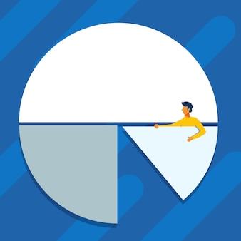 グラフデザイン紳士立っているデザインを示す円グラフのピースを保持している男の描画を完了します。