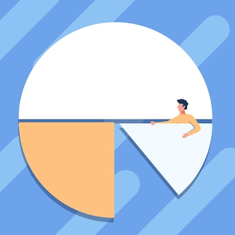 Man drawing holding a pie chart piece showing graph design gentleman standing design completing a