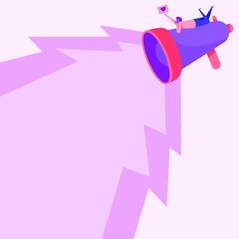 Рисунок человека, лежащего на вершине большого мегафона, производящего освещение, делая прекрасное сообщение. рисование линий человека отдыхает на большом роге для рекламы запоздалой рекламы.