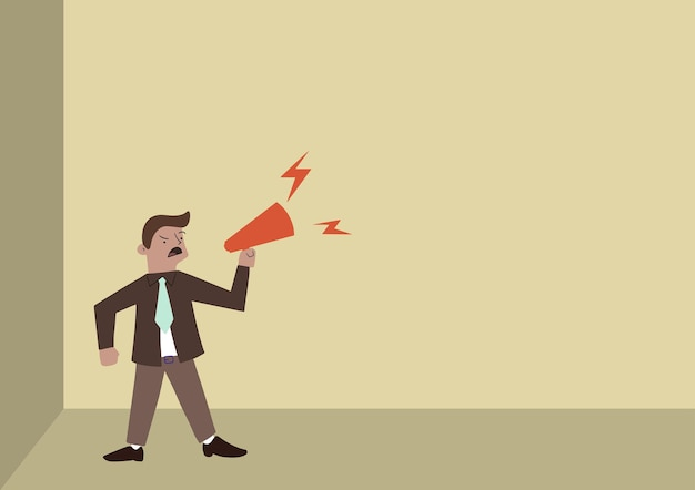 Man drawing standing firmly shouting over megaphone presenting new announcement business man line