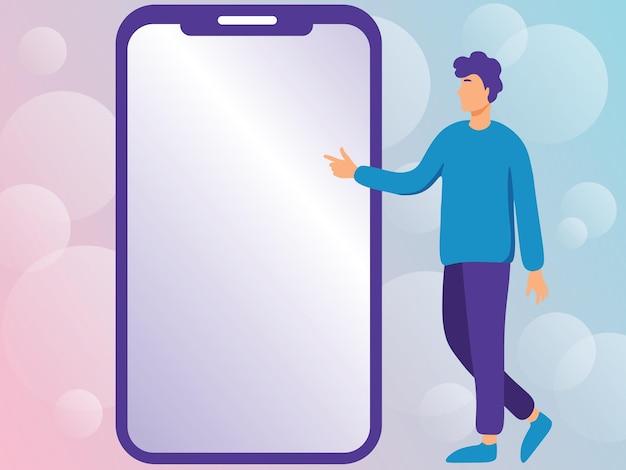 新しい技術を指摘する大きな電話の横に立って描く男紳士は指を指す