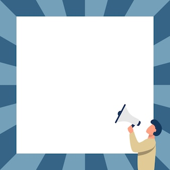 Man drawing talking through megaphone making new announcement facing blank wall. character drawing speaking at bullhorn producing late advertisement to a big square.