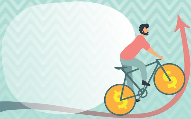 Man drawing travelling using bike with dollar sign wheels going upward young sports athlete