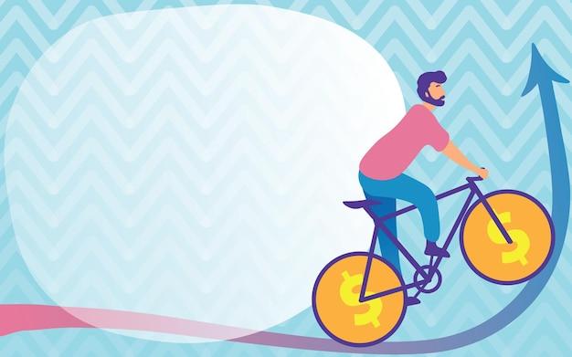 젊은 스포츠 선수 위로 올라가는 달러 기호 바퀴와 함께 자전거를 사용하여 여행을 그리는 남자