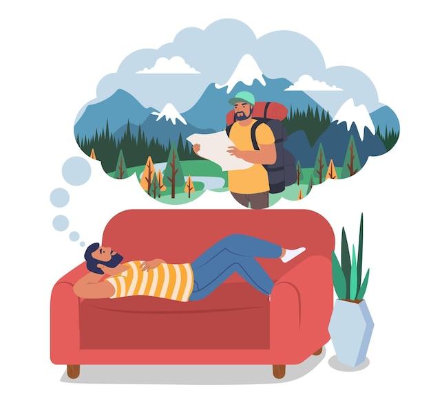 ソファに横たわって旅行ハイキングトレッキングを夢見ている男フラットベクトルイラスト夏休みtra ...