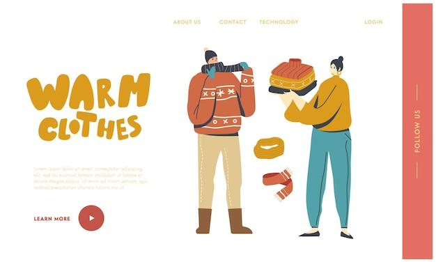 야외 방문 페이지 템플릿을 걷기 위한 남자 드레스 스카프와 모자. 여성 캐릭터는 추운 겨울이나 가을 날씨, 드레스 패션을 위해 따뜻한 모직 니트를 들고 있습니다. 선형 사람들 벡터 일러스트 레이 션