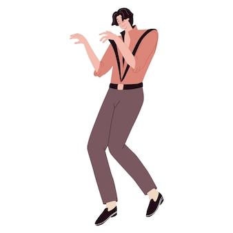 Man dressed like a dance zombie walking dead people in costumes halloween vector illustration