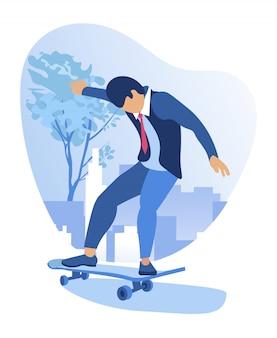 똑똑한 옷을 입고 남자, 재미, 아이처럼 스케이트