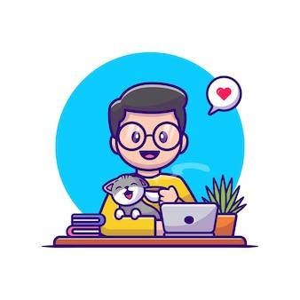 男は猫とラップトップの漫画のベクトル図とコーヒーを飲みます。分離された動物の人々の概念。フラット漫画スタイル