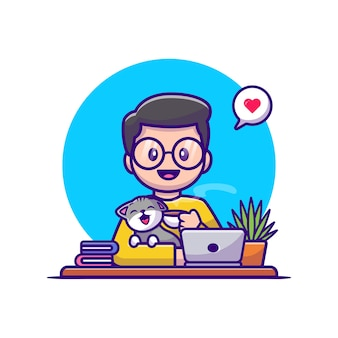 Man drink coffee with cat and laptop cartoon vector  illustration. animal people  concept isolated . flat cartoon style