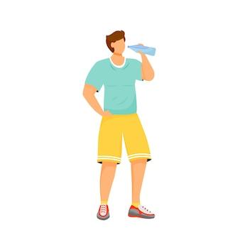 Человек пьет воду плоский дизайн цвет безликий персонаж