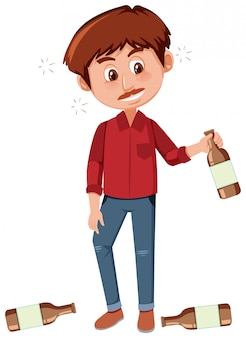 白い背景の上にアルコールを飲む男性
