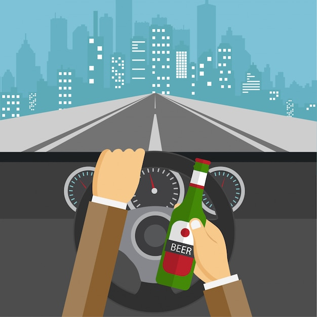 Man drinking beer and driving car