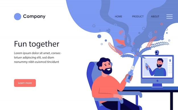 Мужчина пьет пиво онлайн со своим другом. шаблон веб-сайта или целевая страница