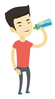 Мужчина пьет воду.