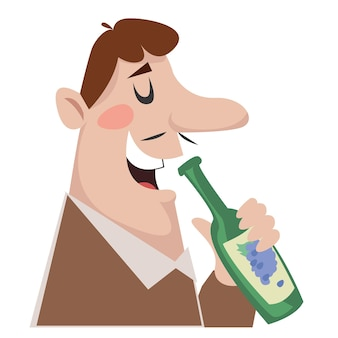 A man drinks wine. logo of the alcologist shop. illustration in cartoon style fun