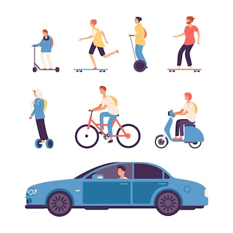 Man drive. guys on scooter and bike, gyro scooter and skateboard. male driving car vector illustration. bike scooter, drive man by car