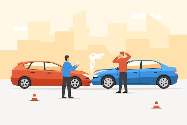 Водитель человека после автомобильной аварии разговаривает по телефону с просьбой о помощи. сердитый мужской персонаж после автомобильного столкновения с бампером, использующий телефон для вызова службы страхового агента, векторная иллюстрация