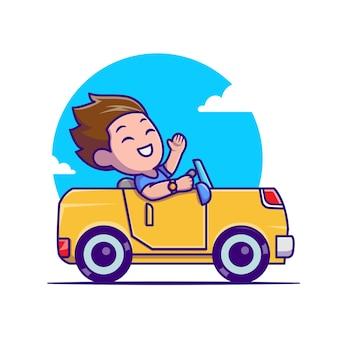 車を運転する男漫画アイコンイラスト。人の交通機関のアイコンの概念が分離されました。フラット漫画スタイル