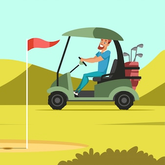 Man driving electric car at golf court  illustration, club worker carrying golf sticks and wedges, spring grass lawn background, green park with holes, flags