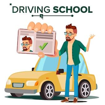Man in driving school