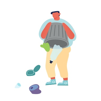 ゴミ箱から地面または水を撒き散らすゴミ箱にゴミを捨てる男