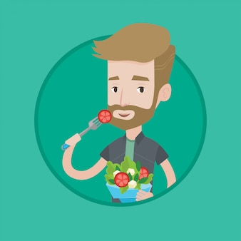 Человек ест здоровый овощной салат.