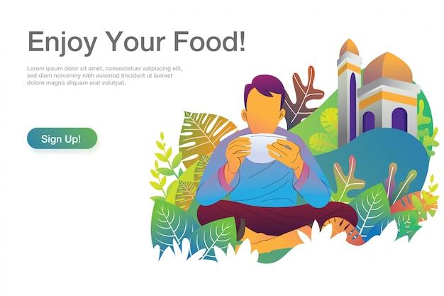 Человек ест иллюстрации с шаблоном текста и зарегистрироваться кнопку