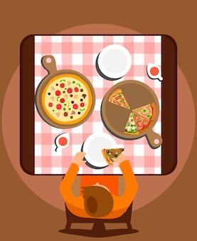 Man eating meal alone flat illustration