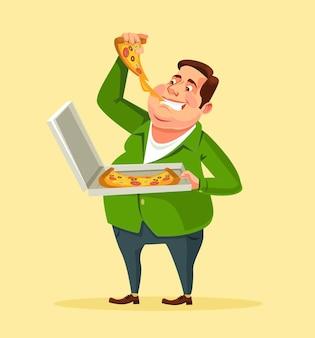 Человек ест пиццу.