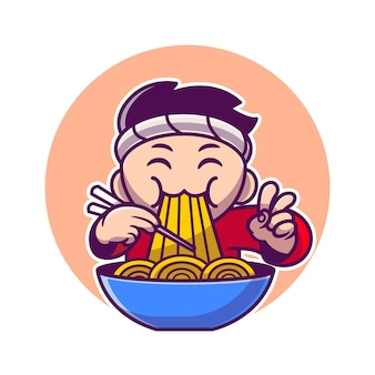 Man eating ramen noodle with chopstick cartoon