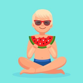 スイカのスライスを食べる男。夏の時間、ビーチパーティーのコンセプト