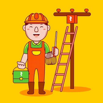 Man electrician profession in flat cartoon style