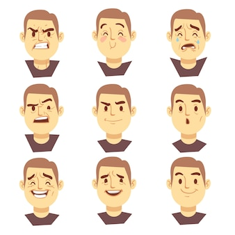 Man emotions faces vector cartoon business characters set. mood joyful or aggressive, character face