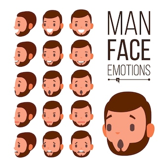 Man emotions vector. young male face portraits. sadness, anger, rage, surprise, shock