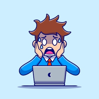 ノートパソコンの漫画で男従業員のパニック。分離された人の技術アイコンの概念。フラット漫画スタイル