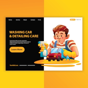Man employee washing car and detailing service