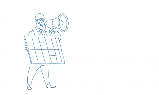 Man engineer hold loudspeaker solar energy panel renewable station presentation sketch doodle full length