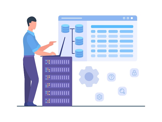 Man engineer stand work on laptop maintenance database server service storage internet tec.