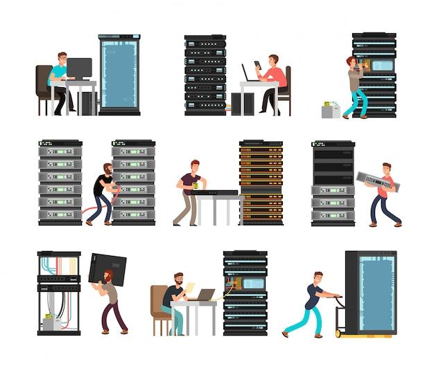 Man engineer, technician working in server room.