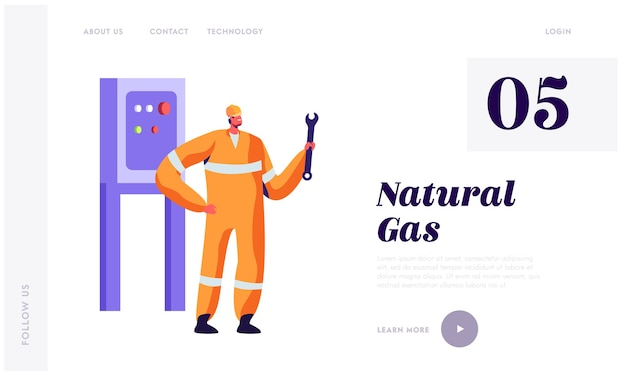 Man engineer with wrench service gas industry landing page.