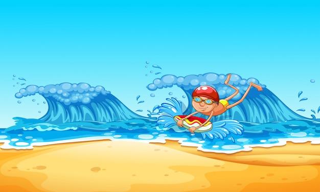 A man enjoy bodyboarding at the beach