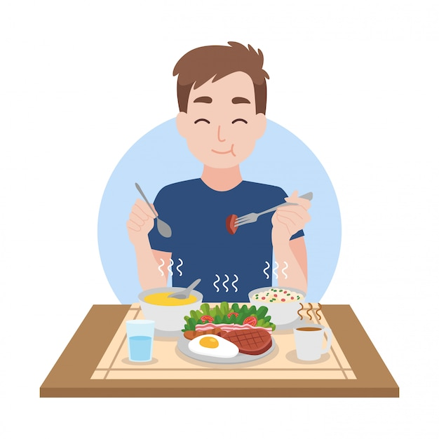 남자는 깨끗하고 뜨거운 음식을 먹는 것을 즐긴다 프리미엄 벡터